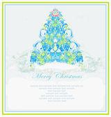 Sněhové vločky vánoční strom — Stock vektor