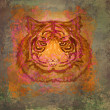 Vintage paper background with tiger - Stock Photo