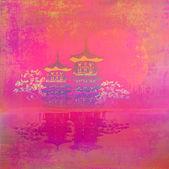 Stary papier z chiński krajobraz — Zdjęcie stockowe