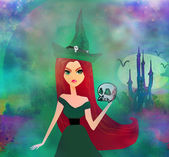 Halloween witch standing with skull — Stockfoto