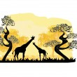 Two giraffes silhouette, with jungle landscape - Stock Vector