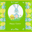 Illustration of happy Easter bunny carrying egg — Stock Vector #23284754