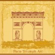 Hand drawn vector illustration of Paris Triumph Arc - Grunge Ba - Stock Vector