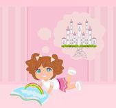 Little girl reading fairy tales — Stock Vector