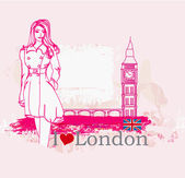 Beautiful woman in London — Stock Vector