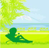 Silhueta de menina tomando banho de sol — Vetorial Stock