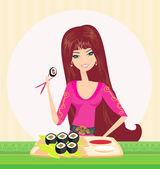 美しい少女は、寿司を楽しむ — ストックベクタ