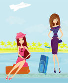 Beauty travel girls with baggage — Stock Vector