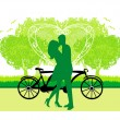 Royalty-Free Stock 矢量图片: Sillhouette of sweet young couple in love standing in the park