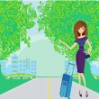 Pretty young woman hitchhiking along a road. - Stock Vector