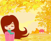 Piękna dziewczyna w jesieni — Wektor stockowy