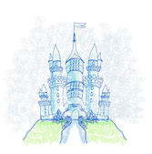 Doodle Sketchy Castle Vector Illustration — Stock Vector