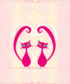 Cute cat in love card — Stock Vector
