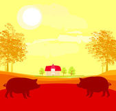 Herd of pigs on nature background — Stock Vector