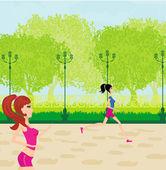 Jogging girls in summer — Stock Vector