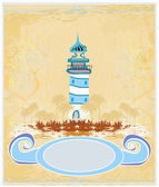 Retro background with lighthouse — Stock Vector