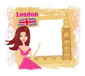 Piękna kobieta w londynie — Wektor stockowy