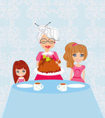 Grandma bringing thanksgiving turkey to the dinner table — Vector de stock