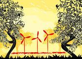 Wind turbine on sundown — Stock Vector
