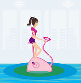 Girl on the exercise bike — Stock Vector