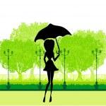 Beautiful woman with umbrella — Stock Vector #23920813