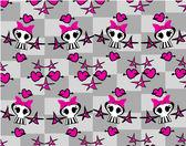 Seamless emo skulls pattern — Stock Vector