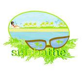 Summer sunbathe card — Stock Vector