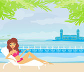 Vector image of girl and tropical pool — Stock Vector