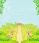 Vector Landscape - Farm and fields — Stock Vector