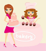 Illustration of a woman buying cake at a bakery store — Stock Vector