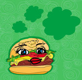 Hamburger with cute face — Stock Vector