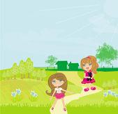 Sweet girls with cute kitten in the garden — Stock Vector