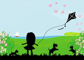 Girl with flying kite. — Stock Vector