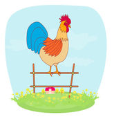 Illustrations of crowing rooster on farm — Stock Vector