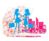 Fashion silhouettes girls Shopping — Stock Vector