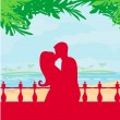 Stock Vector: Couple kissing on beach