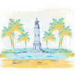Retro background with lighthouse - Stock Vector