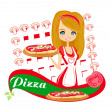 Sweet girl serving pizza - Stock Vector
