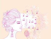 Hand drawn girl singing a song on a floral background — Stock Vector