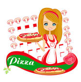 Sweet girl serving pizza — Stock Vector