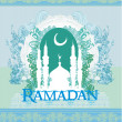 Ramadan background - mosque silhouette vector card - Stock Vector