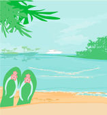 Summer holiday background with footprints — Stock Vector