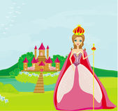 Beautiful queen in front of her castle — Stock Vector