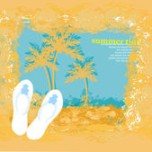 Summer holiday grunge background with slippers — Vecteur