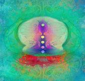 Joga lotosu stanowią. padmasana z czakry kolorowych punktów. — Zdjęcie stockowe