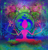 Yoga lotus pose - abstract background — Stock Photo