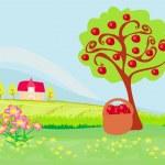 äppelträd och stuga, landskap — Stockvektor