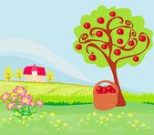 Jabloň a domek, krajina — Stock vektor