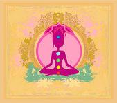莲花瑜伽的姿势。padmasana 与彩色脉轮点. — 图库矢量图片