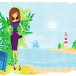 Grunge banner with palm trees and travel girl — Stock Vector #25562119